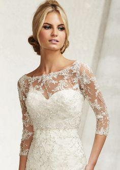Mori Lee 11014 Lace Embroidered Bateau Neck Bridal Jacket - ,