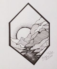 Mountain with a sunrise drawn inside a polygon