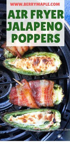 This easy air fryer jalapeno poppers recipe stuffed with cream cheese and wrapp. - This easy air fryer jalapeno poppers recipe stuffed with cream cheese and wrapped in bacon is keto - Air Fryer Recipes Potatoes, Air Fryer Oven Recipes, Air Frier Recipes, Air Fryer Dinner Recipes, Appetizer Recipes, Low Carb Appetizers, Dessert Recipes, Air Fryer Chicken Recipes, Air Fryer Recipes Vegetables