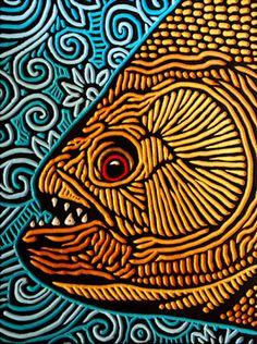 LISA  BRAWN   WOODCUT           piranha