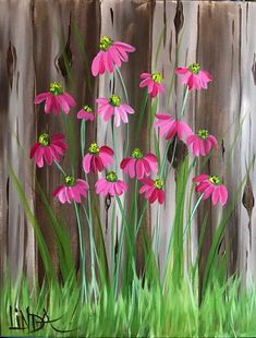 Linda- Country Coneflowers, pink and green flower painting Easy Canvas Painting, Spring Painting, Tole Painting, Painting On Wood, Canvas Art, Fence Painting, Canvas Paintings, Garden Fence Art, Garden Mural