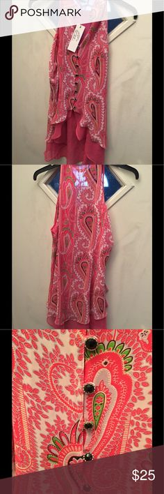 Paisley print high low top Sleeveless high neck button front High low top , 18 inches from armpit to armpit. 34 inches at the longest part in the back  24inches in the front.the blouse has a semi sheer bottom and paisley overlay, Gracia Tops Blouses