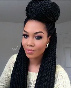 53 Box Braids Hairstyles That Rock - Hairstyles Trends Senegalese Twist Hairstyles, Twist Braid Hairstyles, Crochet Braids Hairstyles, Senegalese Twists, Nice Hairstyles, Hairstyles 2018, Beautiful Hairstyles, Poetic Justice Braids, Kinky Twists