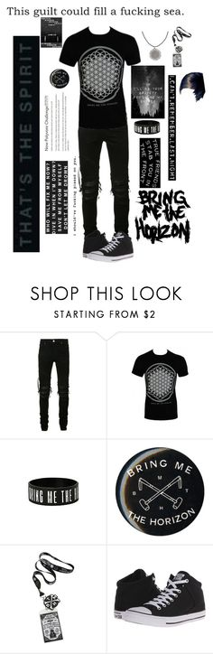 """A-Z Challenge-Bring Me The Horizon"" by literaldisaster ❤ liked on Polyvore featuring AMIRI, Hot Topic, Converse, men's fashion and menswear"