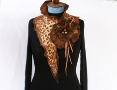 Handcrafted Wool scarf Leopard Animal Print Brown Nuno Felted Scarf Wearable Art Wrap OOAK Wool Necklace Eco Fashion Handmade in Norway Nuno Felt Scarf, Wool Scarf, Felted Scarf, Leopard Animal, Nuno Felting, Wearable Art, Scarf Wrap, Hand Knitting, Fiber Art