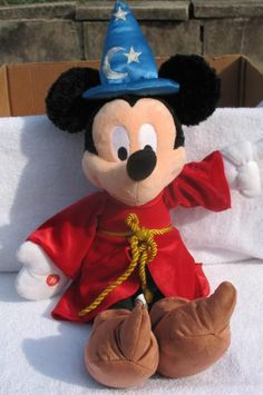 Disney Parks Sorcerer's Apprentice Mickey Mouse Plush Toy Stu...
