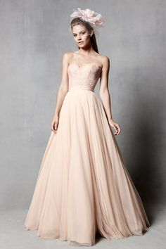 2014 trend we love: a gown in a soft rose gold color. Watters available at the Nordstrom Wedding Suite | 'Ashan' (style 5089B): Rose-gold soft net ballgown skirt with 'Carina' (style 5018B) blush lace, sweetheart neckline corset.