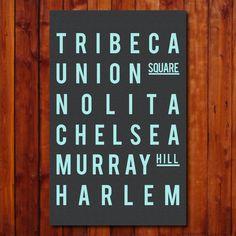 New York City - Subway Sign - NYC - Typography Print - Gift - Modern Art - Home Decor - Vintage Style.