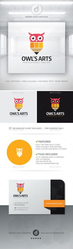 Owl's Arts - Logo Design Template Vector #logotype Download it here: http://graphicriver.net/item/owls-arts-logo/11278017?s_rank=1234?ref=nexion