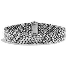 David Yurman Chain Five-Row Bracelet,2.7mm (350 JOD) ❤ liked on Polyvore featuring jewelry, bracelets, chain jewelry, pandora bracelet, sterling silver jewelry, sterling silver bracelet and david yurman jewelry