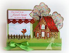 "/18/2012; Sankari W. at 'Sankari's Sunshine Corner' blog using TE stamps; Sankari CASE'd this design from Beate Johns Splitcoaststampers tutorial for a ""side step"" card; LOVE both cards!"