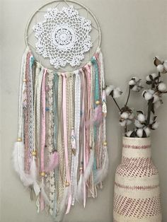 Large Pink and Blue Dream Catcher