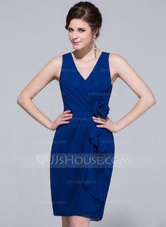 Sheath/Column V-neck Knee-Length Chiffon Bridesmaid Dress With Cascading Ruffles (007037297)
