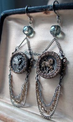vintage assemblage earrings - GALLUP AND FLY - with bird and horse buttons, moss aqua and chains by the french circus