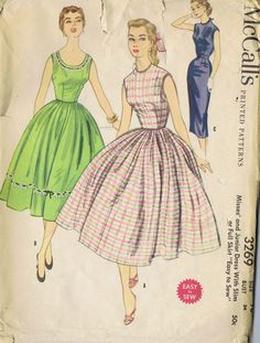 "VINTAGE DRESS 2 SKIRTS SEWING PATTERN 50s MCCALL'S 3269 SIZE 16 BUST 32 HIP 37"" CUT 