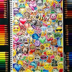 Repost of my emoji drawing bc I didn't like the last pic You're probs bored of this by now but it's one of my fave drawings bc it's so colourful What is your favourite emoji in this pic? Amazing Drawings, Beautiful Drawings, Cute Drawings, Art Quotidien, Emoji Drawings, Doodles, Cool Artwork, Amazing Artwork, Doodle Art