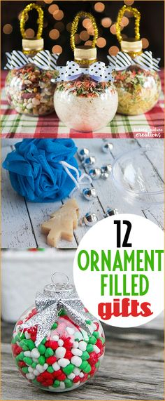 Ornament Filled Gifts. Thoughtful gifts for friends, teachers and neighbors. Creative ways to gift on a budget. Stocking stuffers for all ages. Christmas party crafts you can make at home.