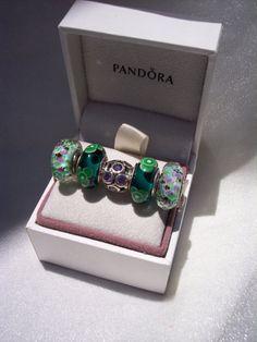Pandora Charms Tropical Sea Glass Teal Flowers by JEWELSELAGANT, $150.00