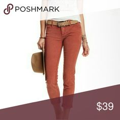 "💙FLASH $19 FREE PEOPLE Roll Crop Corduroy Pant 29 NWT Free People Rolled Crop Corduroy Skinny Pant Terracotta size 29 =8  lightweight stretch 98%cotton 2% spandex  appprox 8""rise 26.5""length  please see pic 1 these,are Terracotta, rust like ,sooo cute! Free People Pants"