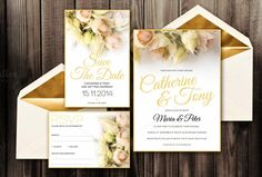 Blushing Bride Invitation Pack - PSD by Zepol on Creative Market
