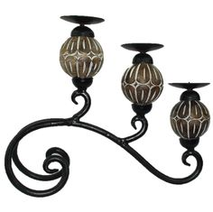 Wood & Cast Iron Candle Stand