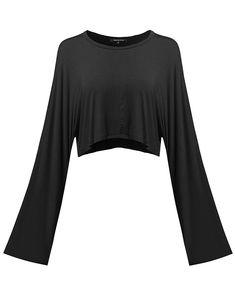 1994887530b MBE Women s Trendy Solid Kimono Long Sleeve Crop Top - Fewtel0004 Black -  CV186I7C34I