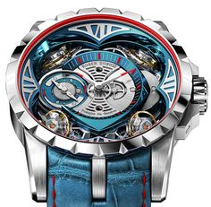 """Roger Dubuis Excalibur Quatuor Cobalt MicroMelt Watch - by Kenny Yeo - This bold piece is crafted from cobalt chrome. More details at: aBlogtoWatch.com - """"Let's be honest, subtlety isn't one of Roger Dubuis' strong suits. The brand is more recognized for its avant-garde and often outrageous designs and inventions. In 2013, it stunned the watchmaking world with the eye-catching Excalibur Quatuor watch. And now, Roger Dubuis is at it again with its new Quatour Cobalt MicroMelt watch..."""""""