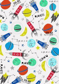 Planets & Space Shuttle Illustration via Dawn Bishop // otherworldly Pattern Texture, Surface Pattern Design, Space Illustration, Pattern Illustration, Kids Patterns, Print Patterns, Drawing, Kids Prints, Art Plastique