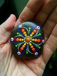 Hand Painted Beach Stone ~ Rainbow Flower Mandala Painted ...