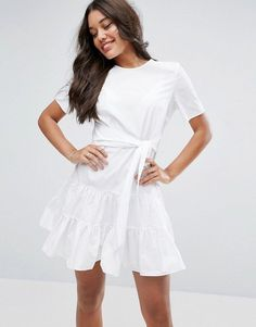 eeeaad13fa ASOS Tiered Cotton Mini Dress