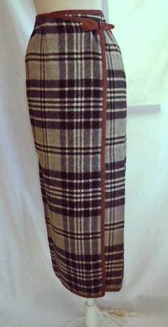 Grunge Ralph Lauren Kilt Skirt Maxi Wrap Plaid Blanket Suede NOS Vintage 90s