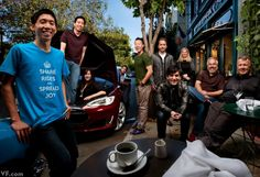 Silicon Valley tech entrepreneurs gather at the South Park Café in San Francisco; from left: Ridejoy members Kalvin Wang, Randy Pang, Margot Leong, Seth Warrick, and Jason Shen, with a Tesla Model S; Dropbox founders Drew Houston and Arash Ferdowsi; and Y Combinator founders Jessica Livingston, Trevor Blackwell, and Paul Graham, photographed by Jonas Fredwall Karlsson.