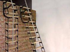 ZIP UP - Verschuifbare trapladder Zip Ups, Minimalist, Wood, Ladders, Bedroom Ideas, Studios, Industrial Dining, Industrial Dining Tables, Interior Stairs