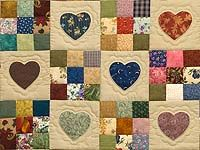 ~ Hearts & Nine Patch Quilt ~ Amish, Would like it in a different color pallet...