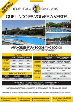 Temporada 2014 - 2015 / Aranceles para socios y no socios