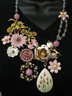 OOAK Repurposed Vintage Jewelry Couture Statement Necklace Collage Pink Flowers Crystal and Rhinestones Savannah Line by SunnyDayVintage.com on Etsy, $220.00 by natasha