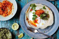 Hoppers are a Sri Lankan staple, often eaten for breakfast. This recipe includes a herb-packed zingy green sambol, and a fiery chilli sambol. Egg Benedict, Egg Recipes For Breakfast, Brunch Recipes, Savory Breakfast, Breakfast Ideas, Jamie Oliver, Chilli Chicken Stir Fry, Indian Food Recipes, Ethnic Recipes
