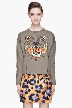 printed sweatshirt and skirt look, courtesy of KENZO.