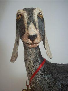 Primitive Paper Mache Folk Art Nubian Goat by papiermoonprimitives