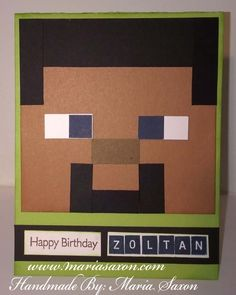 Minecraft Cards, Minecraft Birthday Card, Lego Minecraft, Minecraft Ideas, Homemade Birthday Cards, Birthday Cards For Boys, Boy Birthday, Valentine's Cards For Kids, Boy Cards