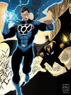 Superman Blue Lantern Batman Yellow Lantern - this really suits them! Superman, the symbol of hope, and Batman, inspiring fear. Batman E Superman, Batman Y Robin, Funny Batman, Comic Books Art, Comic Art, Blue Lantern Corps, Arte Dc Comics, Mundo Comic, Dc Comics Characters