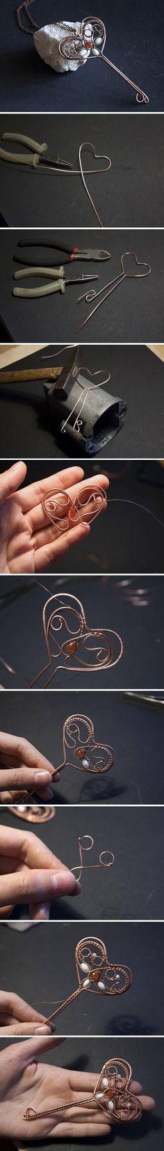 Wire Wrapped Heart Key Pendant Tutorial #diyjewelry