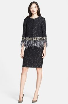 St. John Collection Feather & Beaded Trim Paillette Knit Jacket   Nordstrom