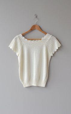 Talc sweater white short sleeve sweater scalloped by DearGolden
