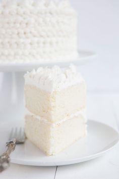 Slice of WASC cake, a smei-homemade white cake recipe.
