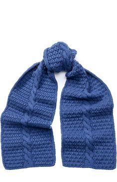 Женский синий кашемировый шарф фактурной вязки с бусинами Loro Piana, арт. FAG4694 купить в ЦУМ | Фото №1