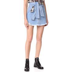 SJYP Shirt Tie Denim Miniskirt ($220) ❤ liked on Polyvore featuring skirts, mini skirts, light blue, button front denim skirt, tartan skirt, denim miniskirts and short plaid mini skirt