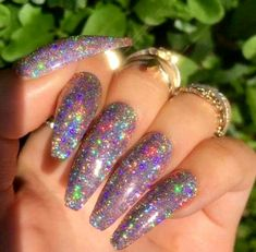 Galaxy Holo Nail Glitter - Holographic Nail Powder Holo Nail Art Laser Holographic Nail Powder Love the color, hate the length Dope Nails, Fun Nails, Sparkle Nails, Nails 2016, Holographic Nail Powder, Holographic Glitter, Gel Nagel Design, Best Acrylic Nails, Bling Nails