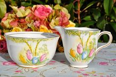 Melba Bone China Tulips Vintage Sugar Bowl and Cream Jug, c.1948-51
