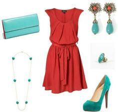 Rojo y turquesa